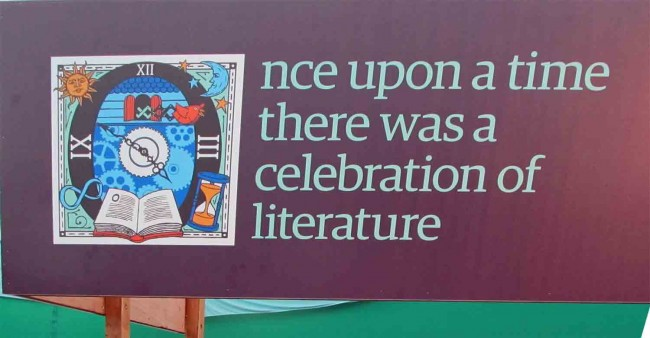 Quote in the entrance tent at the Book Festival