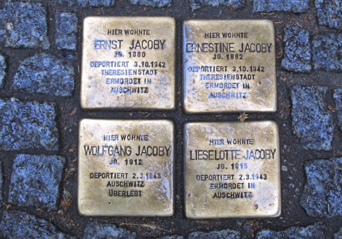 Stumbling stones in the pavement commemorating the Jews from that house who were deported and murdered